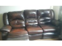 leather sofa recliner brown