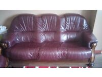 Three Seater Leather Sofa Wood frame