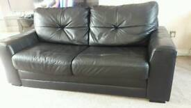 2 seater sofa bed black leather