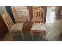 4 x limed oak effect dining chairs