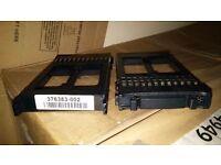 "2 x HP Compaq SAS 2.5"" Drive Blank & 2 x SAS Drive Carriers - NEW"
