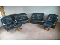 Leather Arm Chairs, 2 Seater Settees and Footstools