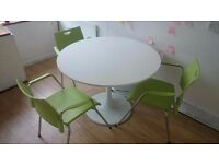 ROUND DESK, CHAIRS & SMALL STAND-UP DESK