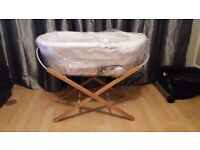 White moses basket brand new with blanket and stand