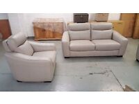 CRESSIDA SILVER GREY LEATHER 3 SEATER SOFA AND 2x ARMCHAIRS EX DISPLAY FURNITURE VILLAGE Can Deliver