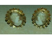 Vintage 9ct Gold Cameo Stud Earrings