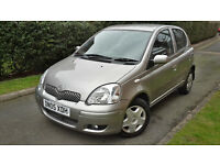 2005 TOYOTA YARIS 1.0 PETROL 5 DOORS VERY LOW MILEAGE,GOOD COND.