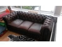 Brown Leather Chesterfield Sofa, and Chair