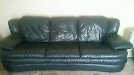 R & J Navy Leather 2&3 seater settees