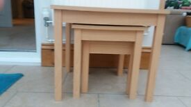 tv stand in beech colour. £10. 3 coffee tables £10.00. good condition