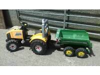 Kids pedal tractor and trailer outdoor toy