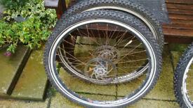 Pair Schwalbe Snow Stud tyres and wheels