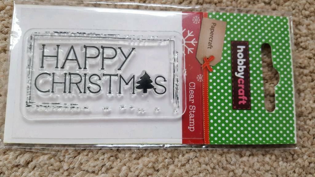 HOBBYCRAFT HAPPY CHRISTMAS CLEAR RUBBER STAMP - BRAND NEW
