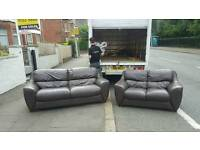 3 and 2 seater sofa in brown leather mint mint condition