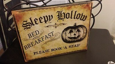 Halloween Sleepy Hollow (Primitive Halloween Sign Sleepy Hollow Bed and Breakfast Please Book 'A Head')