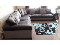 Black and grey corner sofa and swivel chair £1100