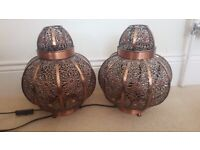 1x light fitting and 2x side table lamps moroccan style