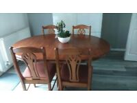 Solid wood extending dining table & 4 chairs