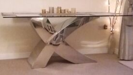 Glass top Dining Table with Chrome Cross Base