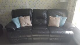 Black 3 seater leather reclining couch