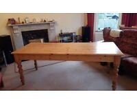 Hand made farmhouse style table with end drawer