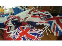 red white blue, union jack bunting and flags