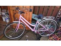 REFLEX PINK LADIES BIKE WITH STAND AND BIKERACK
