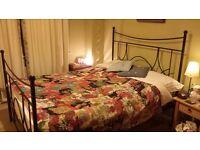 Kingsize bed frame (mattress not included) - black matt metal frame, sprung slats - £50