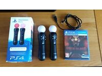 2 x PS4 Move Controllers & Until Dawn Rush of Blood