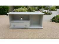 Large Pine TV unit hand painted in Rustoleum chalk paint 'Winter Grey' in excellent condition