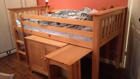 Children's Julian Bowen Barcelona Bed, pull out desk and under bed small wardrobe.