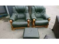 Chesterfield chairs and poofy