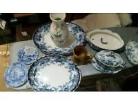 Mix China Plates + Jugs. Wade. Staffordshire. Blue Italian. Spode. £20 the lot