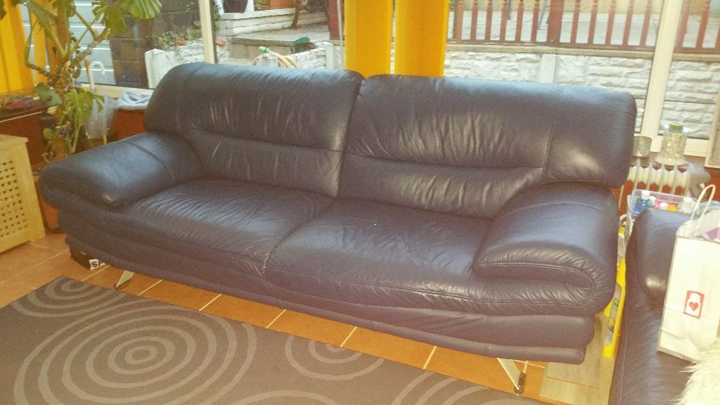 2 leather dark moonlight blue sofas for sale good for Blue sofas for sale