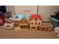 Sylvanian Families 2 houses, ice cream van and cafe and accessories