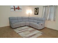 Ex-display Cupola light grey fabric manual recliner corner sofa
