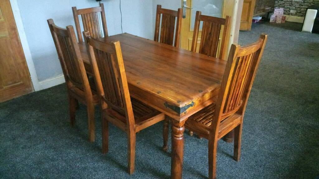 INDIAN SHEESHAM SOLID OAK DINING TABLE AND 6 CHAIRS FREE DELIVERY WEST YORKSHIRE