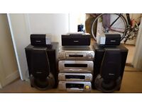 Retro hifi system with 5 speaker bass and amplifier