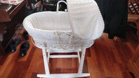 Moses Basket and rocking stand plus sheets and blanket