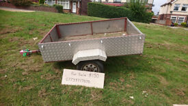 """CHEQUER PLATE TRAILER 78""""X48""""DROP DOWN TAIL."""