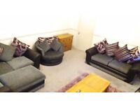 4 Piece Suite. Grey, Black & Purp. Corner Sofa, 3 Seater, Armchair & Footstool (COLLECTION ONLY)