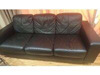 3 seater ikea black leather sofa