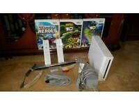 Nintendo Wii, 4 games, 2 wheels, activity mat + game