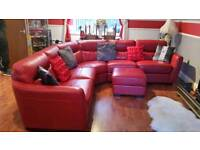 Red leather corner sofa with chair and foot stool