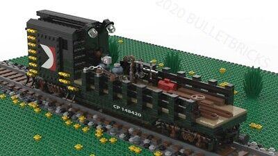CUSTOM LEGO TRAIN CP RAIL CRANE TENDER/WORK CAR MOC 8 WIDE INSTRUCTIONS ONLY!!!
