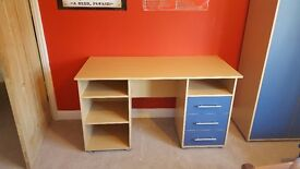 Children's desk, wardrobe and 3 drawer chest set - As New, excellent condition