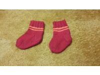 New home hand made knitted red baby boy girl red winter socks sole 11 cm