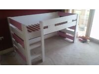 A-Space Girls High Sleeper 3ft Single Bed & Den White with Pink Ends. Optional Memory Foam Mattress