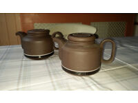 Two Hornsea Contrast Teapots