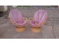 2 Bamboo Swivel Chairs